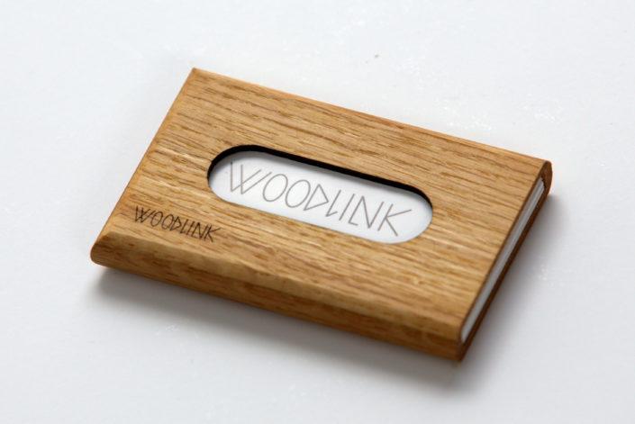 woodlink visitekaartjeshouder pasjeshouder houten portemonnee card holder duurzaam cadeau voor hem oak eiken