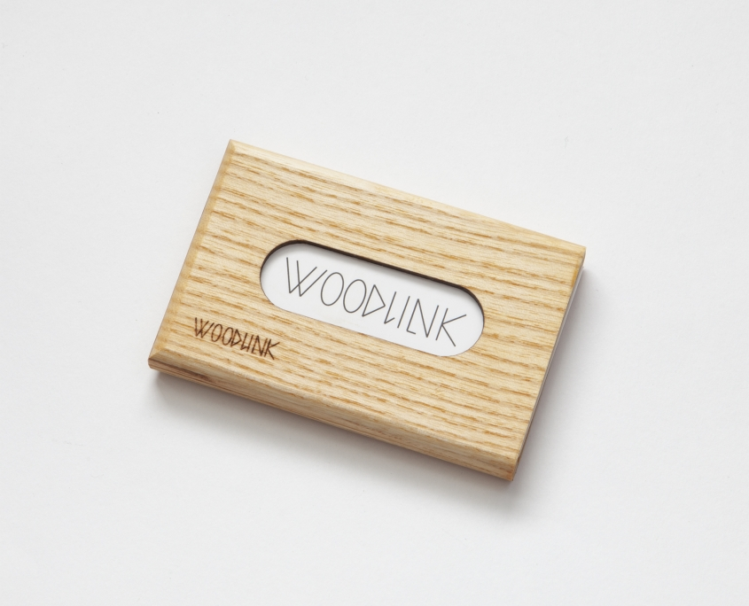 woodlink visitekaartjeshouder pasjeshouder houten portemonnee card holder duurzaam essen ash