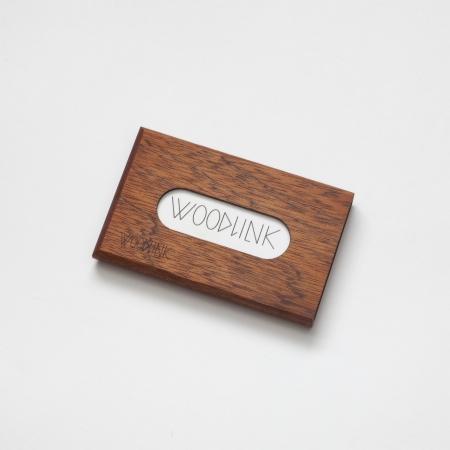 woodlink visitekaartjeshouder pasjeshouder houten portemonnee card holder duurzaam mahonie mahogany