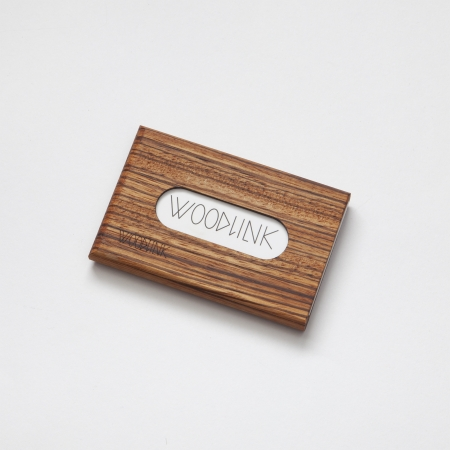 woodlink visitekaartjeshouder pasjeshouder houten portemonnee card holder duurzaam zebrano zebrawood