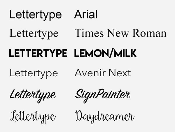 standaard lettertype standard fonts