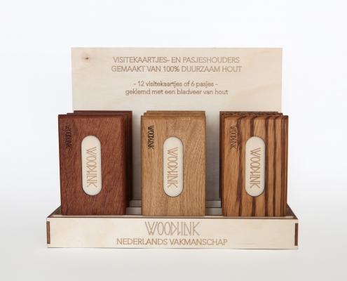 Woodlink houten portemonnee display verkooppunten