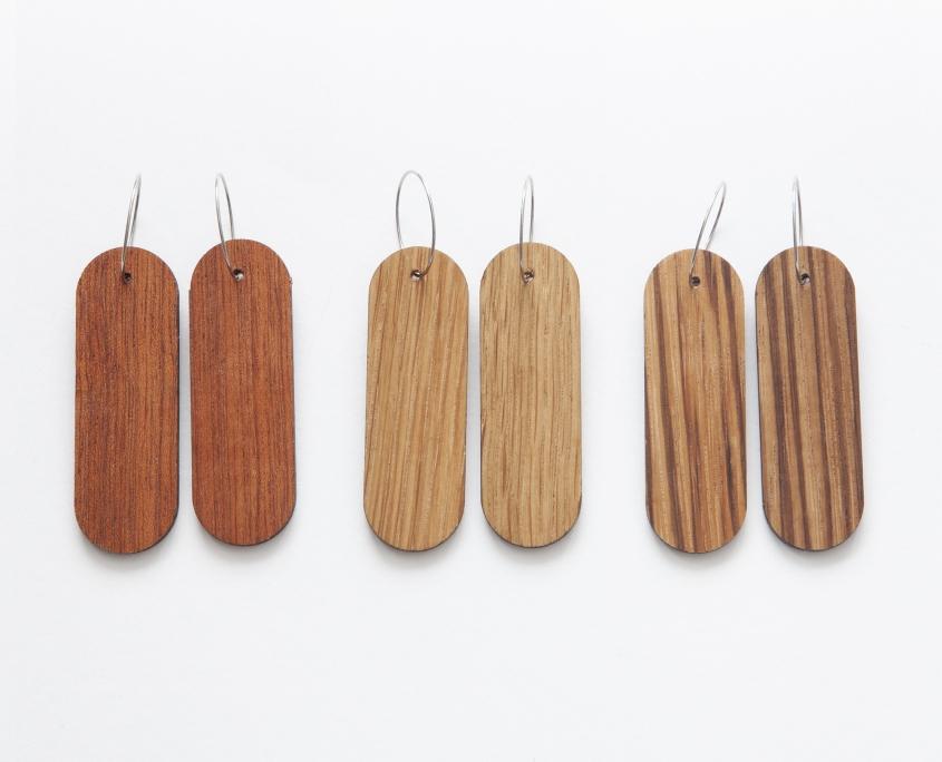 Woodlink oorbellen van duurzaam hout