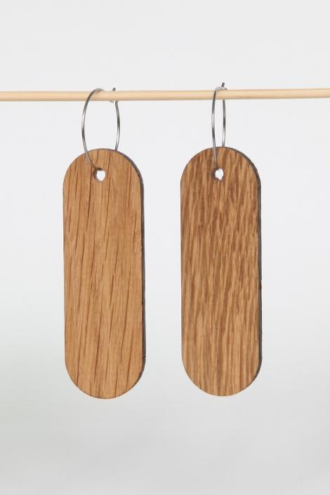 Woodlink oorbellen van duurzaam eiken hout